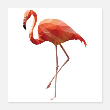 South Low Poly Art - Flamingo dancing pink - Gift Idea - Poster 16x16