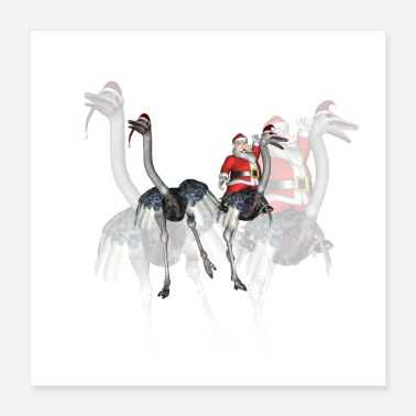 Santa Claus Funny Santa Claus with ostrich - Poster 16x16