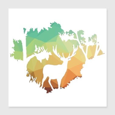 Watching Deer Silhouette in Nature - Poster 16x16