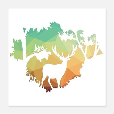 Silhouette Watching Deer Silhouette in Nature - Poster 16x16