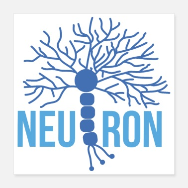 Biology Beautiful Brain Neuron blue - Poster 16x16
