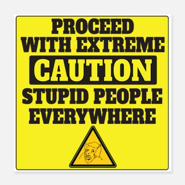 Irony Proceed with Extreme Caution - Poster 16x16