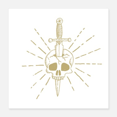 Grungy Grunge Golden Knife In Head Design - Poster