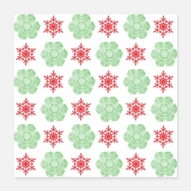 Snowflake Red and green snowflakes pattern - Poster