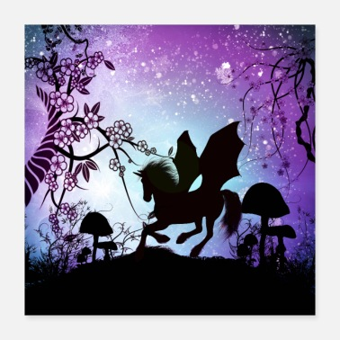 Silhouette Wonderful unicorn silhouette in the night - Poster 16x16