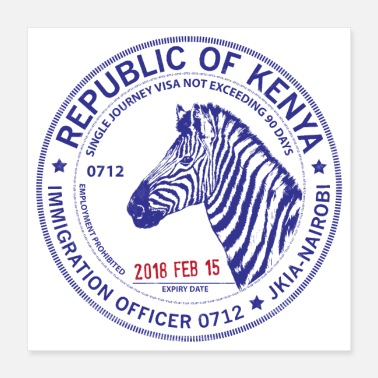 Stamp Kenya Passport Stamp - Poster 16x16