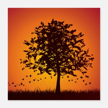 Silhouette Silhouette of a tree in autumn - Poster 16x16