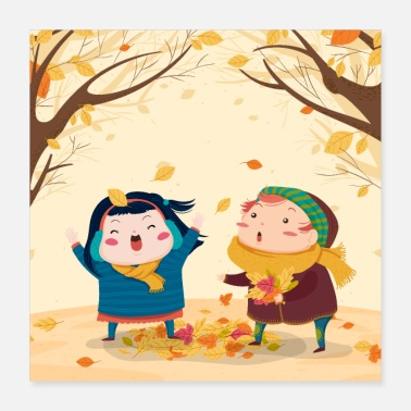 Children Children in Autumn - Poster 16x16