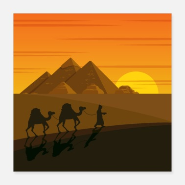 Egypt Sunset on the pyramids - Poster 16x16