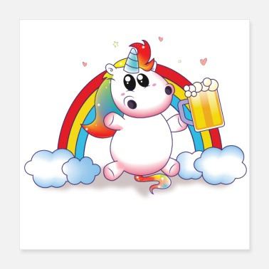 Party Party unicorn beer rainbow - Poster 16x16