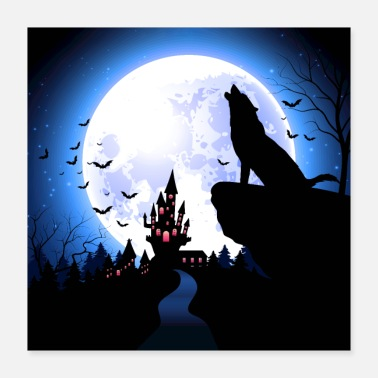 October A werewolf in the moonlight - Poster 16x16