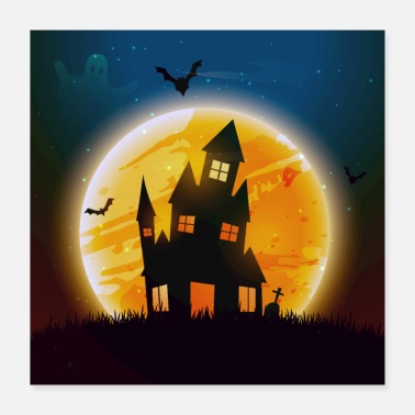 Grave Creepy house on Halloween night - Poster