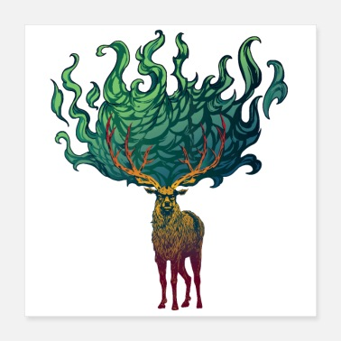 Stag Flaming Stag (Green) - Poster 16x16