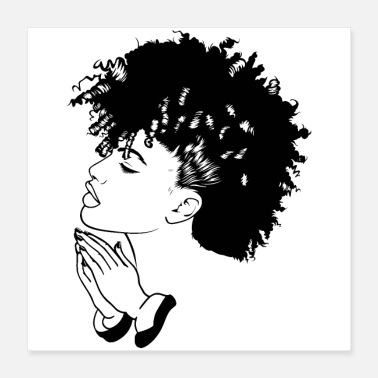 Afro Afro Woman Black Hair Style Natural Confident - Poster 16x16