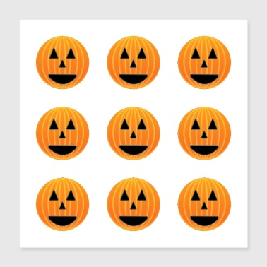 Happy pumpkin faces pattern - Poster 16x16