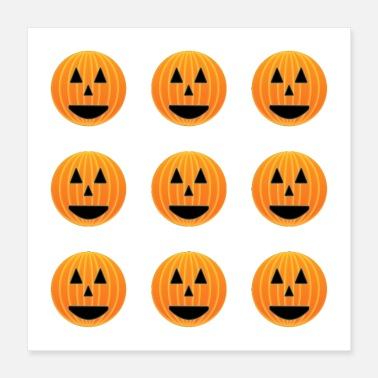 Pumpkin Happy pumpkin faces pattern - Poster 16x16