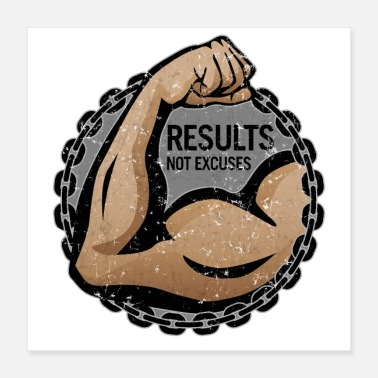 "Heavy ""Results, Not Excuses"" fitness logo - Poster 16x16"
