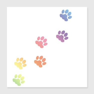Rainbow Rainbow Cat tracks, animal tracks, paw, cat paw - Poster 16x16