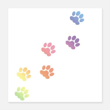 Paw Rainbow Cat tracks, animal tracks, paw, cat paw - Poster 16x16