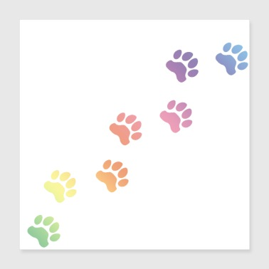 Dog Rainbow Dog tracks, dog footprint, dog paw, dog - Poster 16x16