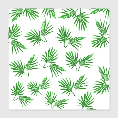 Green Tropical leaves, green palm leaves, green - Poster 16x16