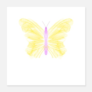 Bug Simple Yellow Purple Butterfly - Poster 16x16