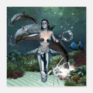 Dolphin wonderful dark mermaid with dolphin - Poster