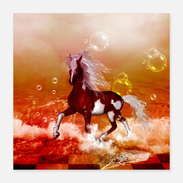 Mammal Wonderful horse with white mane - Poster 16x16