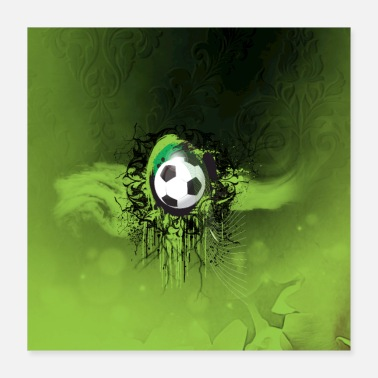 Soccer Soccer football with grunge - Poster 16x16