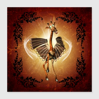 Funny giraffe with wings - Poster 16x16