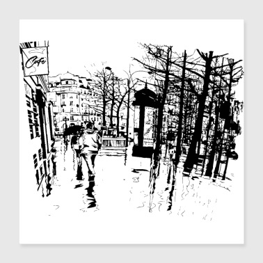 Old Black and white old city art - Poster 16x16