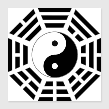 Asian FuXi Earlier Heaven Bagua with Taijitu - black - Poster 16x16