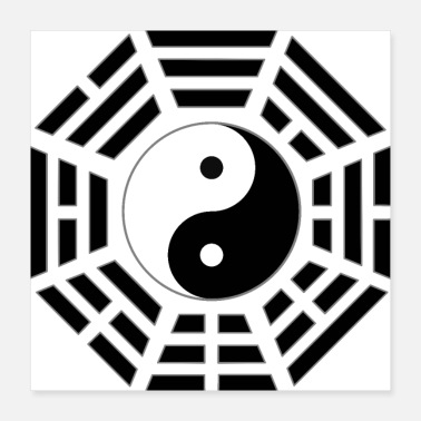 Heaven FuXi Earlier Heaven Bagua with Taijitu - black - Poster 16x16