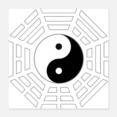 Heaven FuXi Earlier Heaven Bagua with Taijitu - white - Poster 16x16
