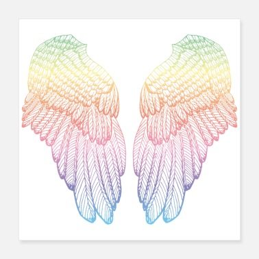 Pair Rainbow Angel Wings - Feathery Heart - Poster 16x16