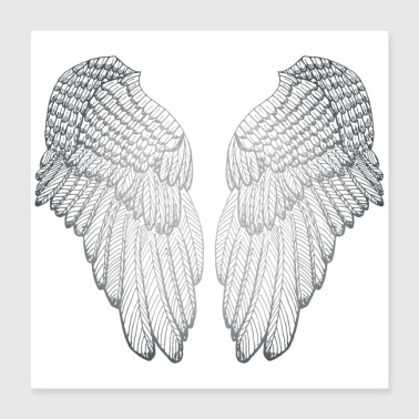 Form Silver Heart - Angel Wings - Poster 16x16