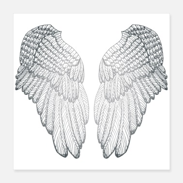 Fluffy Silver Heart - Angel Wings - Poster 16x16