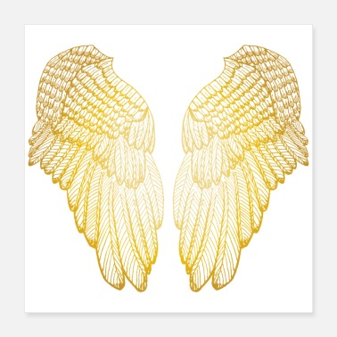 Angel Golden Heart - Angel Wings - Poster 16x16