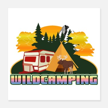 Sweden Wildcamping - Caravan Tent and Moose - Gift Idea - Poster 16x16