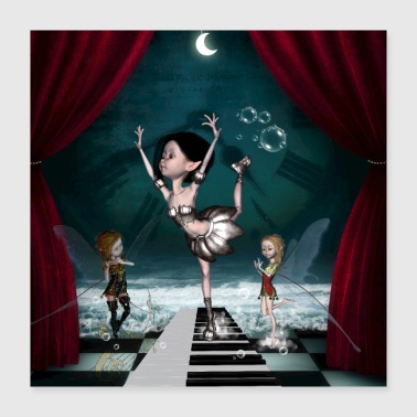 Piano Cute fairy dancing on a piano - Poster 16x16