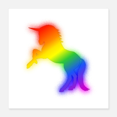 Colors Of The Glowing Rainbow Unicorn Drawing - Poster
