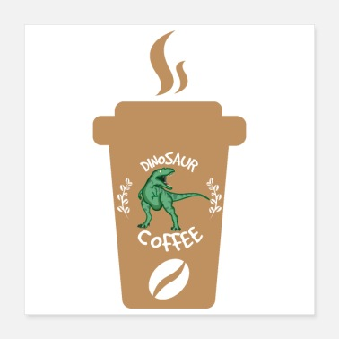 Vegan Kid Dinosaur Coffee Cup braun - Gift Idea - Poster 16x16