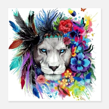Pain Colorful Lion Pained Look effect - Poster 16x16