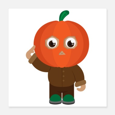 Funny Military Halloween Pumpkin Soldier Salute - Gift Idea - Poster 16x16
