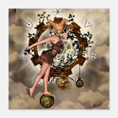 Clock Wonderful steampunk girl with clocks and gears - Poster 16x16
