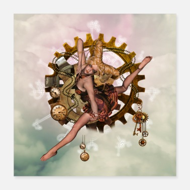 Clock Cute steampunk girl with clocks and gears - Poster 16x16