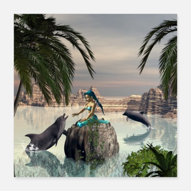 Playing Cute mermaid playing with dolphin - Poster 16x16
