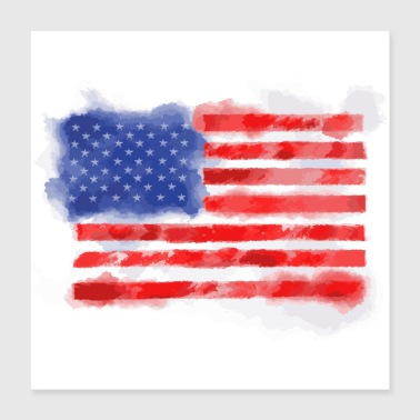 American Watercolor American Flag for Veterans and Patriots - Poster 16x16