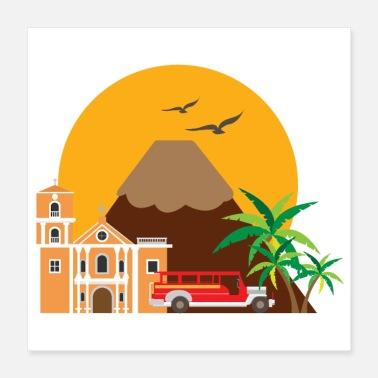Luxury Manila Philippines San Agustin Church Jeepney Taxi - Poster 16x16