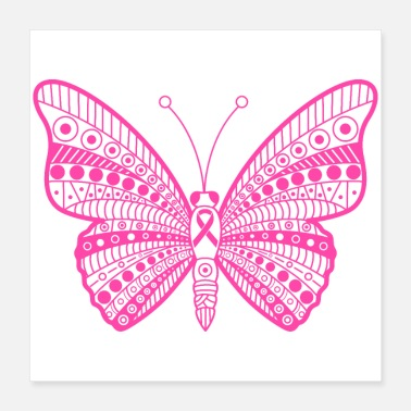 Ribbon Breast Cancer Pink Ribbon Tribal Butterfly - Poster 16x16